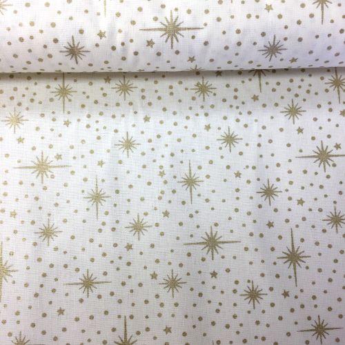 Zlaté hviezdice s bodkami zlatotlač vianočná metráž