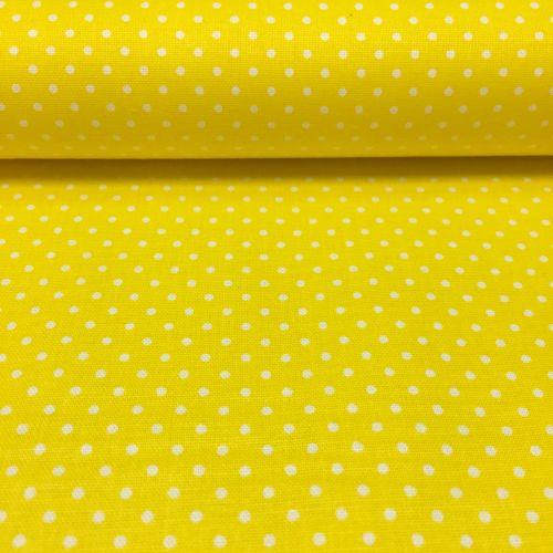 Žltá s bodkami 1,5mm česká bavlna